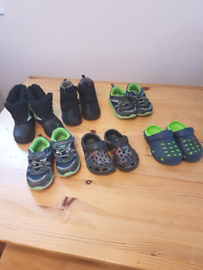9 pairs of toddler shoes and boots
