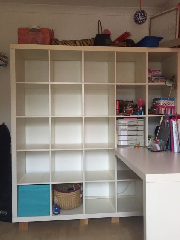 Ikea Expedit Kallax 5x5 With Desk And Chair In