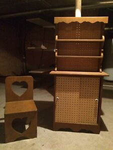 Play tea hutch and 3 chairs