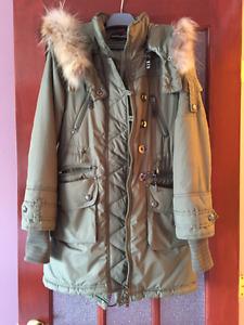 Manteau hiver avec capuchon détachable Kaki