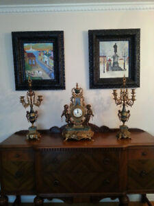 Antique style clock and candelabras garniture