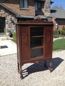 Walnut china cabinet, antique