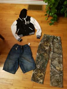 Boys Coat, Camo Pants and GAP shorts. New.