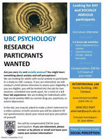 Research Participants! UBC Study Seeks Socially Anxious Adults