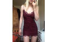 Topshop Gorgeous Burgundy lace party dress