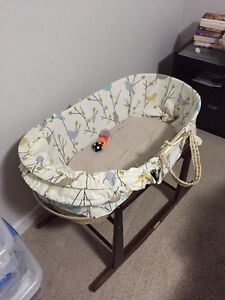 Gently Used Moses Bassinet and Stand