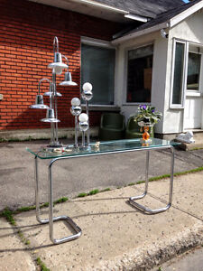Vintage / Mid Century Chrome and Glass Console TV Table