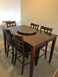 Sleek Tall Dining Table Set - Excellent Condition