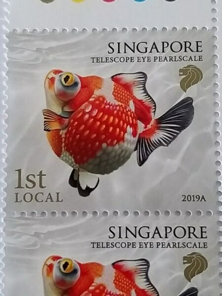 Singapore Postage Stamps of 1st Local features Telescope Eye Pearlscale Goldfish - UNC, VALID & MINT