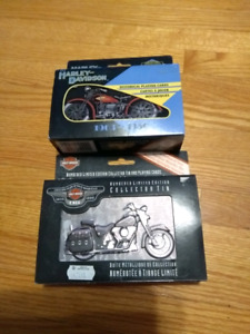 Harley-Davidson Motorcycle Collector tins and playing carda