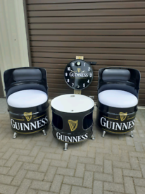 Oil drum seats table clock bench Guinness castrol landrover harley cat
