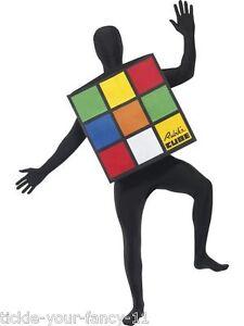 Womens Mens Rubiks Cube Costumes 3D Second Skin Retro Outfit Rubix Fancy Dress