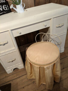 Vintage white wooden desk with vanity chair and wooden bench