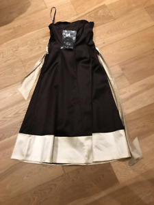 IVORY AND BROWN FORMAL DRESS (SIZE 8 OR UK 36)