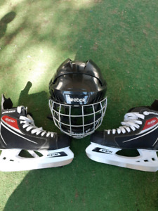 Adult like new skates and youth skates helmet