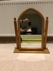 Mirror / Wood effect, Table top, Swivel