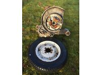 Vespa scooter engine case and wheel