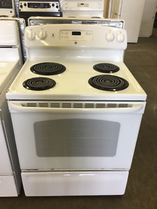 "30"" Beautiful White GE Coil Top Stove"