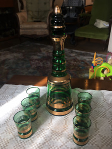 Antique Green Glass Decanter and Cups