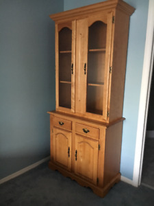 Smart pine bookcase / display cabinet with glass doors
