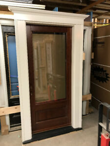 "SOLD PPU Solid Cherry Wood Exterior Door 34"" /w Glass"