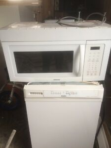 microwave with range hood and mint dishwasher