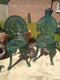 Cast aluminium chair X2. Garden chare