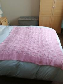 Beautiful Pink hand knitted baby shawl