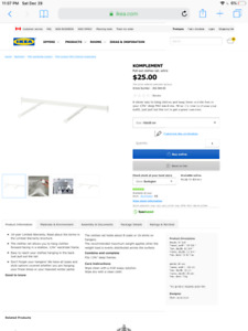 KOMPLEMENT IKEA pull out double rod for PAX wardrobe