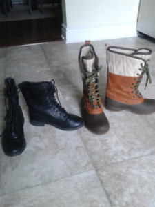 2 pairs of size 6 woman's boots.
