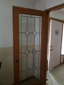 Glass interior doors.
