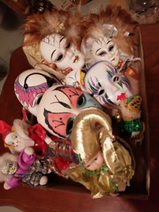 PORCELAIN,CERAMIC, HAND PAINTED WALL HANGING FACE MASKS