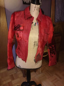 Parasuco red leather and pony fur fitted jacket