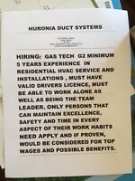 Huronia Duct Systems Hiring Gas Technician
