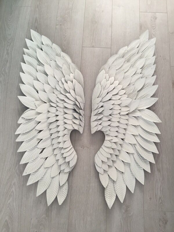 Pair of extra large white metal angel wings wall art in for Angel wings wall decoration uk