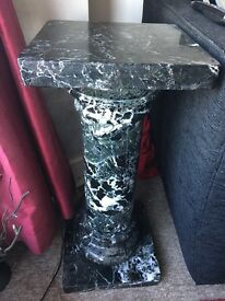 Black marble pillar table