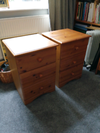 Two pine bedside draws.