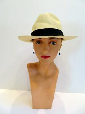 J. Crew Unisex Handmade Panama Hat 100% Natural Palm Fibers Black Band Med-Large
