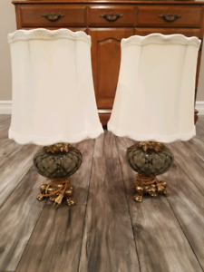 Vintage side table lamps brass base with glass globe