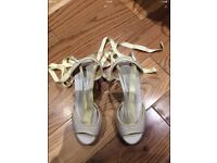 Anya Hindmarch White Yellow Canvas Peep Toe Lace Up Sandals Wedges heels 36EUR-3UK