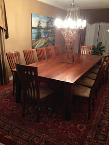 Custom Made Solid Cherry Wood Dining Room Table and Chairs