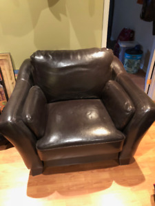 Sofa cuir brun