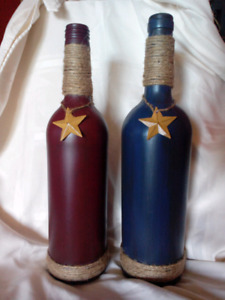 Hand painted Primative wine bottles