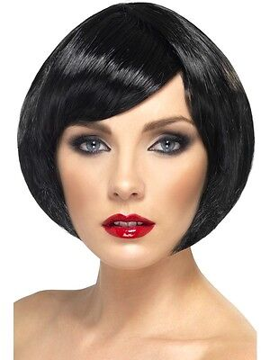 Womens Short Black Bob Wig Sexy Short Hair with Bangs Halloween Costume Adult