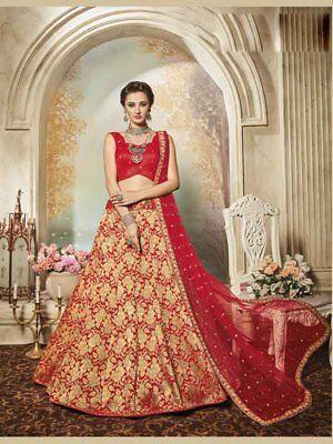 ecb1c7d8a0dfb Designer Red Beige Embroidered Bollywood Pure Silk Jacquard Wedding Wear  Lehenga