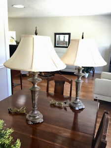 Pair of solid metal table lamps.