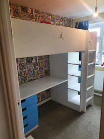 High sleeper cabin bed with desk wardrobe and storage