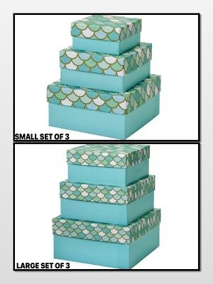 - Mermaid's Paradise Nested Gift Boxes 3 Piece Square CHOOSE Small or Large SET
