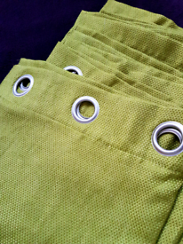 """New curtains eyelets Green 66"""" x 54"""" lined. 168cm x 137cm bedroom"""