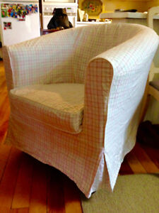 Beautiful Slipcovered Leather Chair